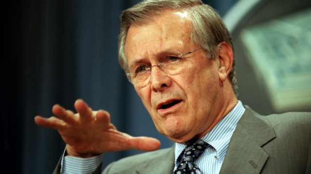 020221-D-9880W-080 	Secretary of Defense Donald H. Rumsfeld briefs reporters at the Pentagon on the latest developments in the war on terrorism on Feb. 21, 2002.   Rumsfeld and Chairman of the Joint Chiefs of Staff Gen. Richard B. Myers, U.S. Air Force, provided details of the Jan. 23, 2002, U.S. ground assault on two buildings in the Afghan village of Hazar Qadam.  DoD photo by R. D. Ward.  (Released)